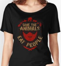 save the animals, EAT PEOPLE Women's Relaxed Fit T-Shirt