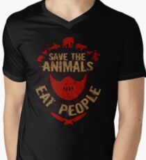 save the animals, EAT PEOPLE Men's V-Neck T-Shirt