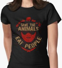 save the animals, EAT PEOPLE Womens Fitted T-Shirt