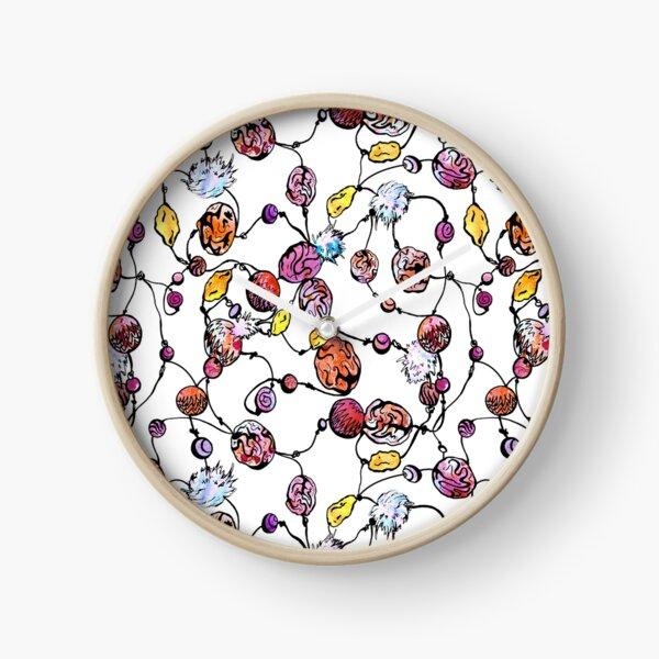Perles aquarelle à la main sur fond blanc Horloge