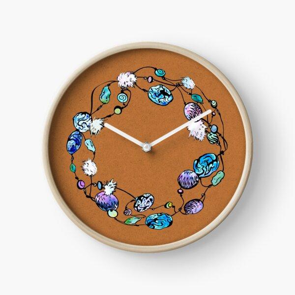 Collier de perles à la main orange Horloge