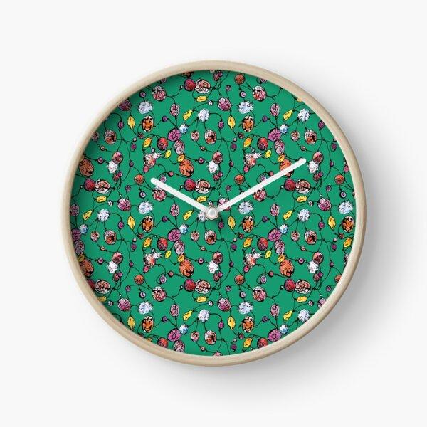Perles vertes à la main Horloge