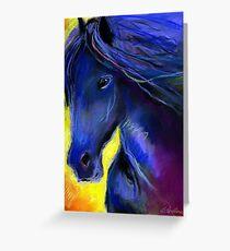 Friesian horse Pastel painting Svetlana Novikova Greeting Card