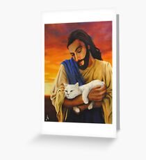 Jesus & cat Greeting Card