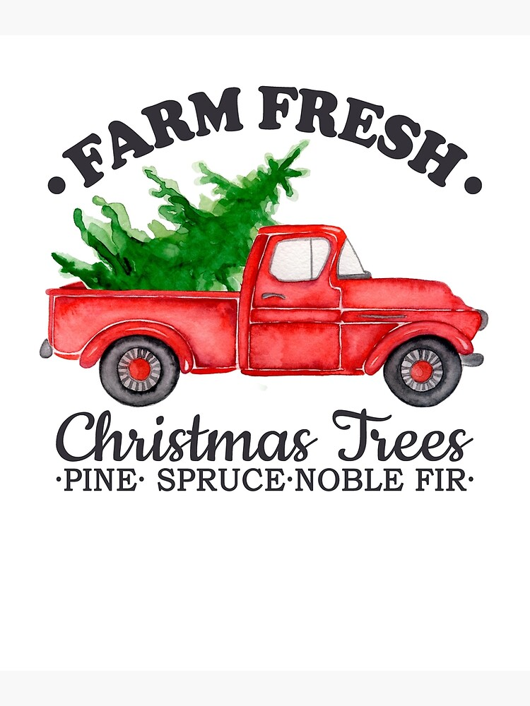 Watercolor Vintage Red Pickup Truck With Farm Fresh Christmas Tree Gift Greeting Card By Balanceplus Redbubble