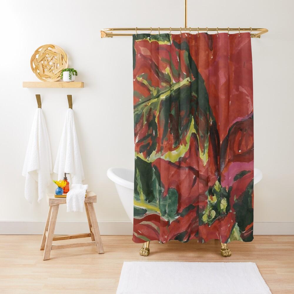 Christmas Poinsettia Shower Curtain By Joreitzeartist Redbubble
