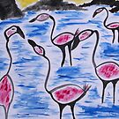 Pink Flamingos by George Hunter
