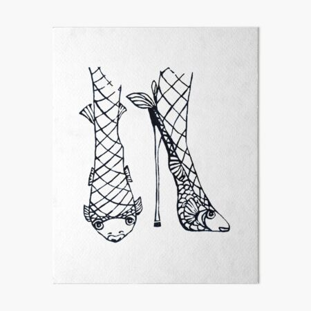 Fish net stilettos Art Board Print