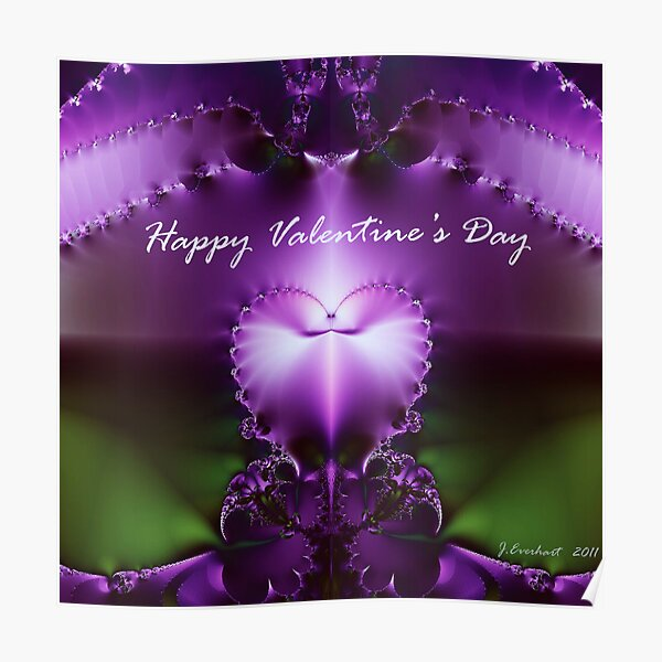 Happy Valentines Day heart fractal Poster