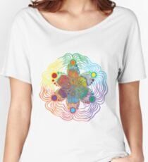 Six Color Red-Orange-Yellow-Green-Blue-Purple Women's Relaxed Fit T-Shirt