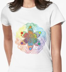 Six Color Red-Orange-Yellow-Green-Blue-Purple Women's Fitted T-Shirt