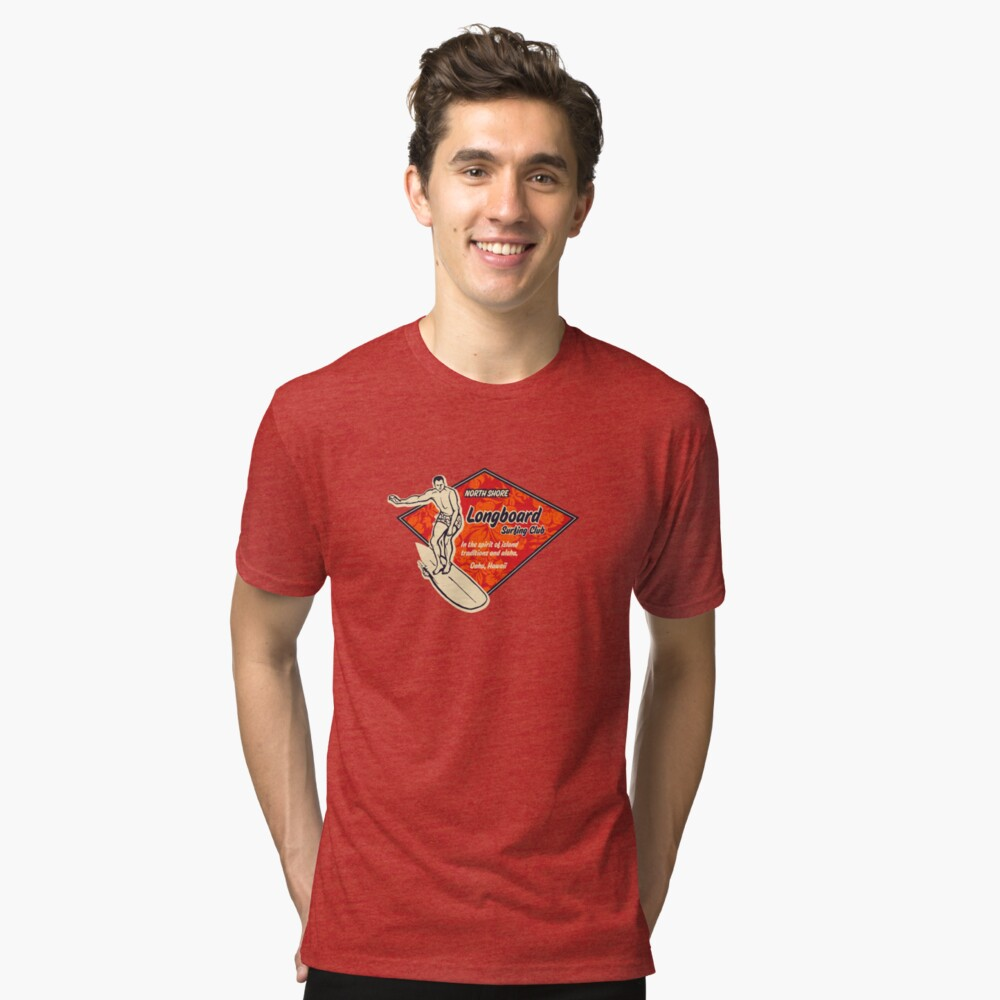 Club Surfing Diamond Hawaiian Print - Black & Red Tri-blend T-Shirt Front