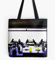 Cross Processed image of inside a restaurant in Costa Brava, Spain Tote Bag
