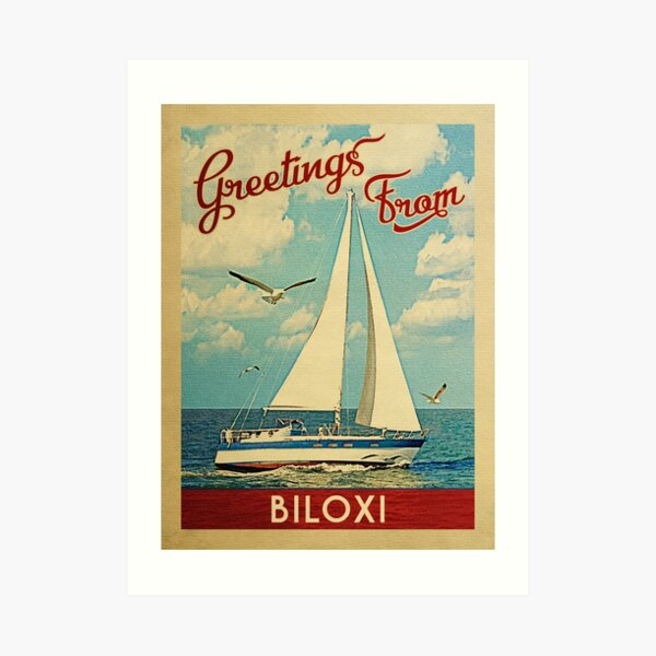 Biloxi Vintage Travel Sailboat Art Print