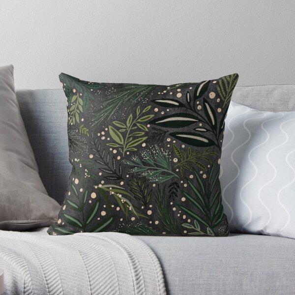 Black and Green Berry Garden Throw Pillow