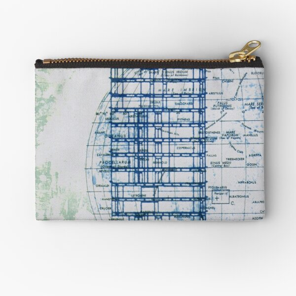 A blue moon rises as the building scrapes the sky Zipper Pouch