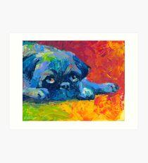 Impressionistic Pug dog portrait Svetlana Novikova Art Print