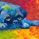 Impressionistic Pug dog portrait Svetlana Novikova by Svetlana  Novikova