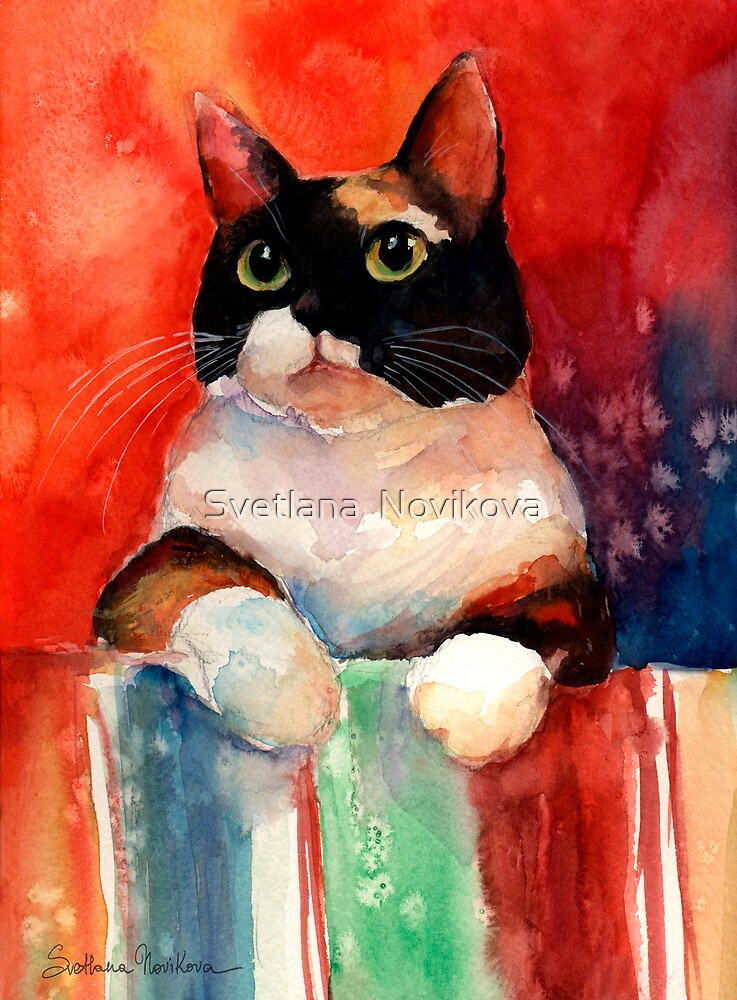 Watercolor Calico Tubby Cat painting Svetlana Novikova by Svetlana  Novikova