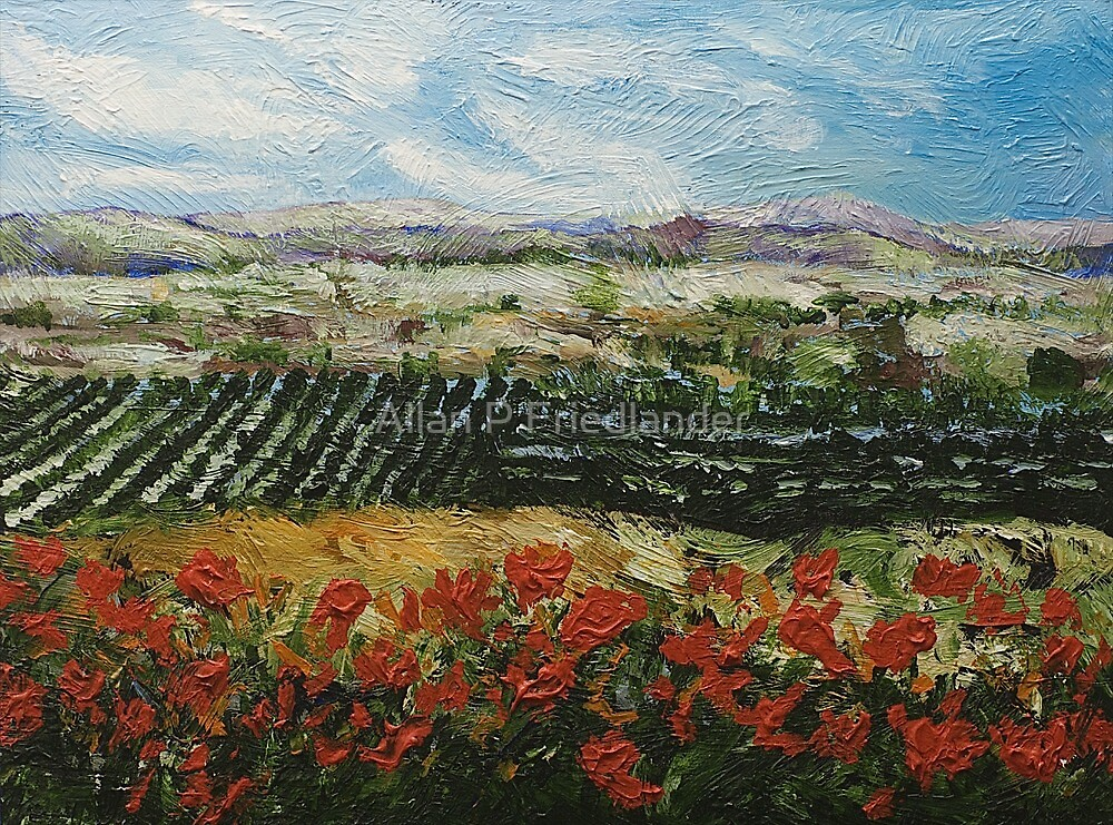 Hill with Red Flowers by Allan P Friedlander