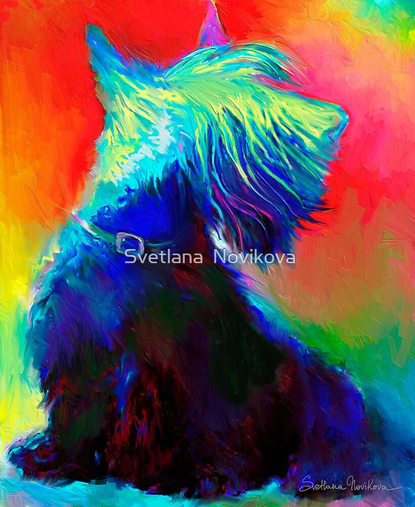 Vibrant Scottish Terrier dog painting Svetlana Novikova by Svetlana  Novikova