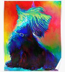 Vibrant Scottish Terrier dog painting Svetlana Novikova Poster