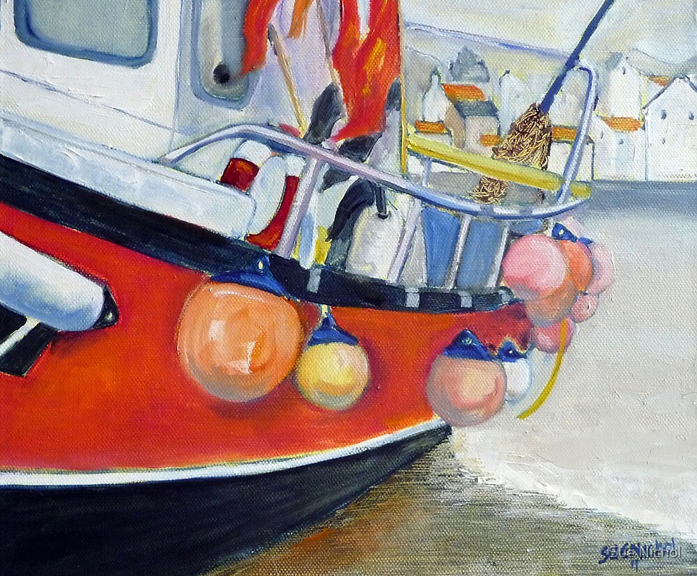 Early Dawn, Fishing Boat, Staithes 2 by Sue Nichol