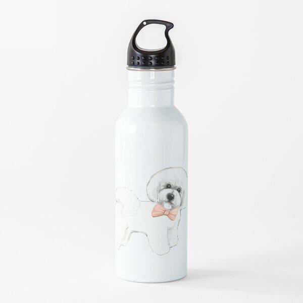 Bichon Frise dog, coral bows Water Bottle