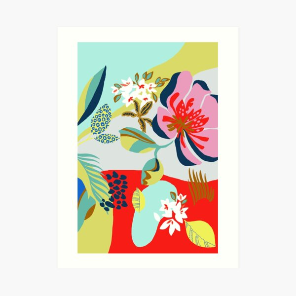 Funky graphic floral  Art Print