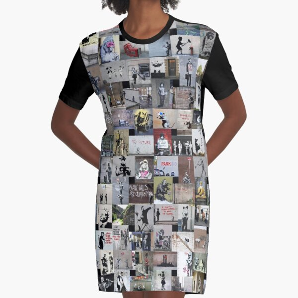 Banksy Graphic T-Shirt Dress