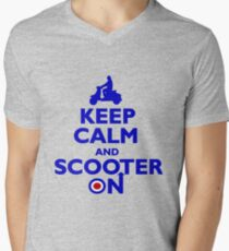 Keep Calm and Scooter On (blue) Mens V-Neck T-Shirt