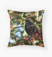 Blackbird and Winter Berries Throw Pillow