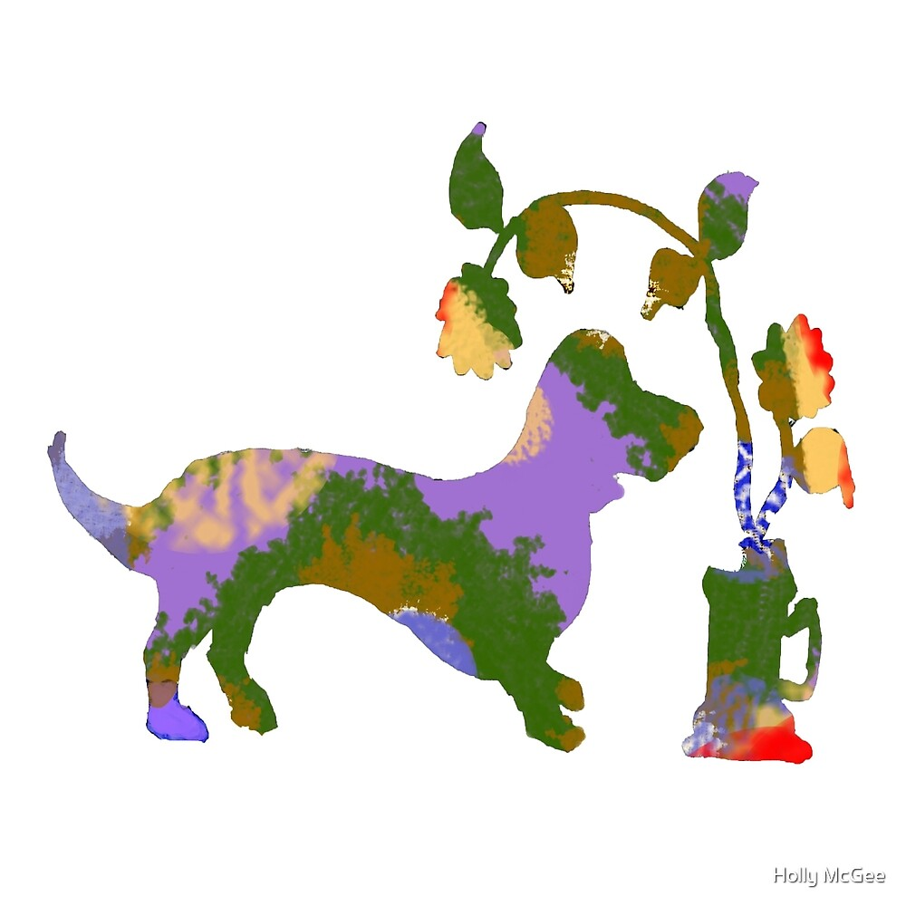 Dachshund and Flowers 1 by lollipoplake