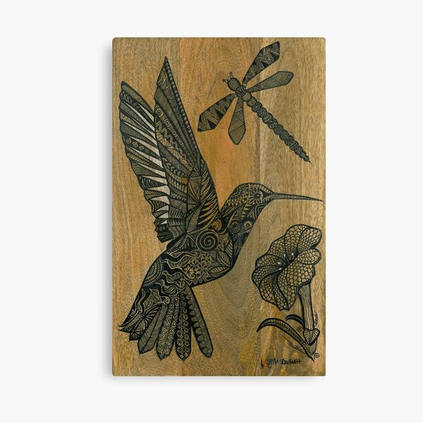 Hummingbird, dragonfly and tropical flower - drawing on wood with black pen Canvas Print