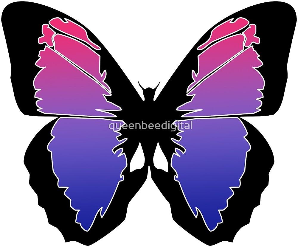 Pink/Purple/Blue Butterfly by queenbeedigital