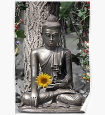 Glasgow Buddha with Sunflower Poster