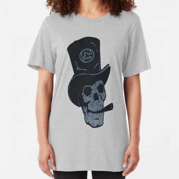 hat and skull usa by rogers bros Slim Fit T-Shirt