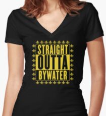 Straight Outta Bywater (Fleur de Lis Version) Women's Fitted V-Neck T-Shirt