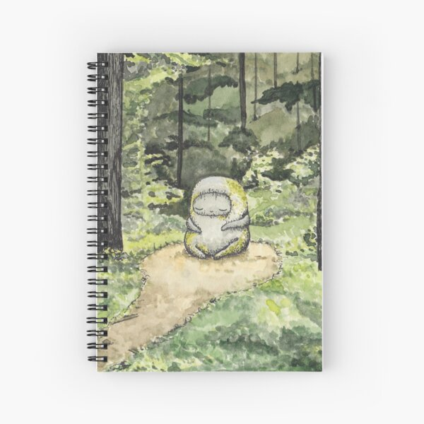 Calm Statue in Forest Watercolor Painting Spiral Notebook