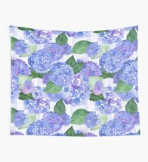 Hydrangeas and Stripes Wall Tapestry