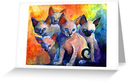 Devon Rex kittens Cat painting Svetlana Novikova by Svetlana  Novikova