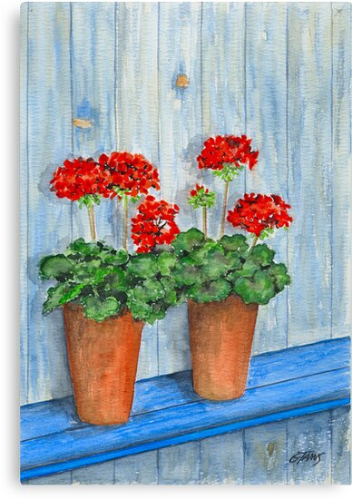 GERANIUMS - WATERCOLOR by RainbowArt