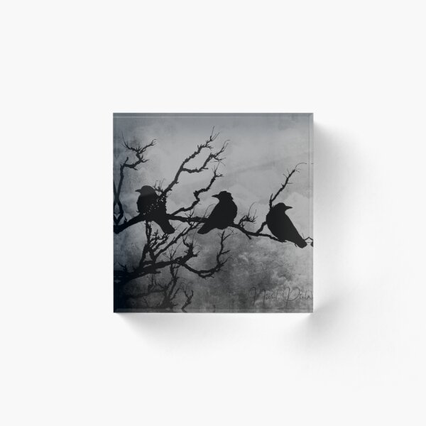 Crows Birds on Branch Yellow Stormy Sky Gothic Art A526 Acrylic Block
