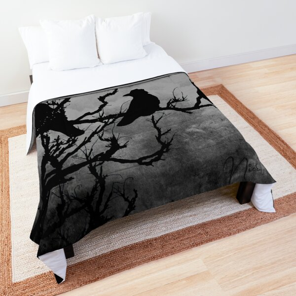 Crows Birds on Branch Yellow Stormy Sky Gothic Art A526 Comforter