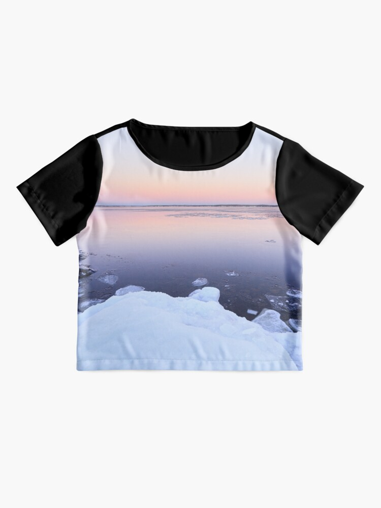 Alternate view of Lake scenery at dusk winter in Finland Chiffon Top