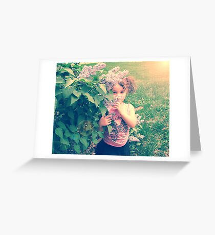 girls are made of lilacs and butterfly kisses Greeting Card