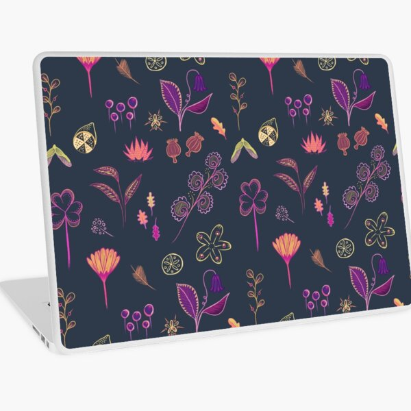 Flower pattern natural dark and colourful Laptop Skin