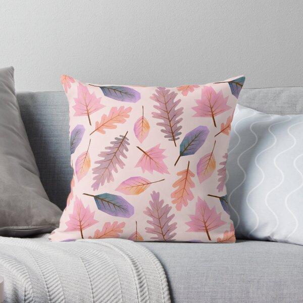 Pink winter Autumnal leaf pattern Throw Pillow