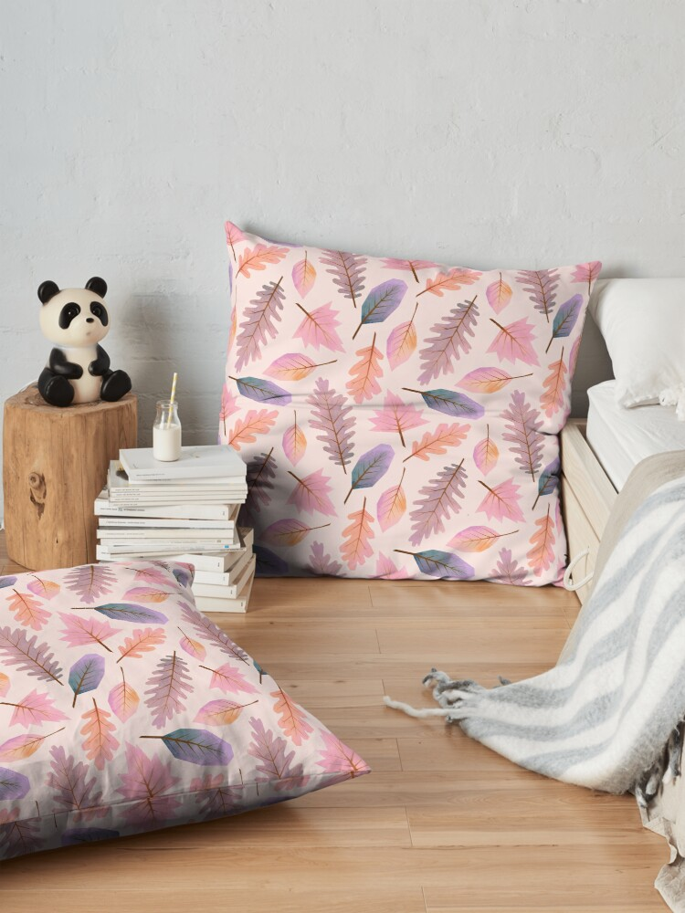 Alternate view of Pink winter Autumnal leaf pattern Floor Pillow