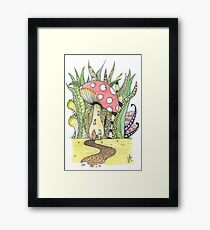 Fairy Toadstool Watercolour Framed Print